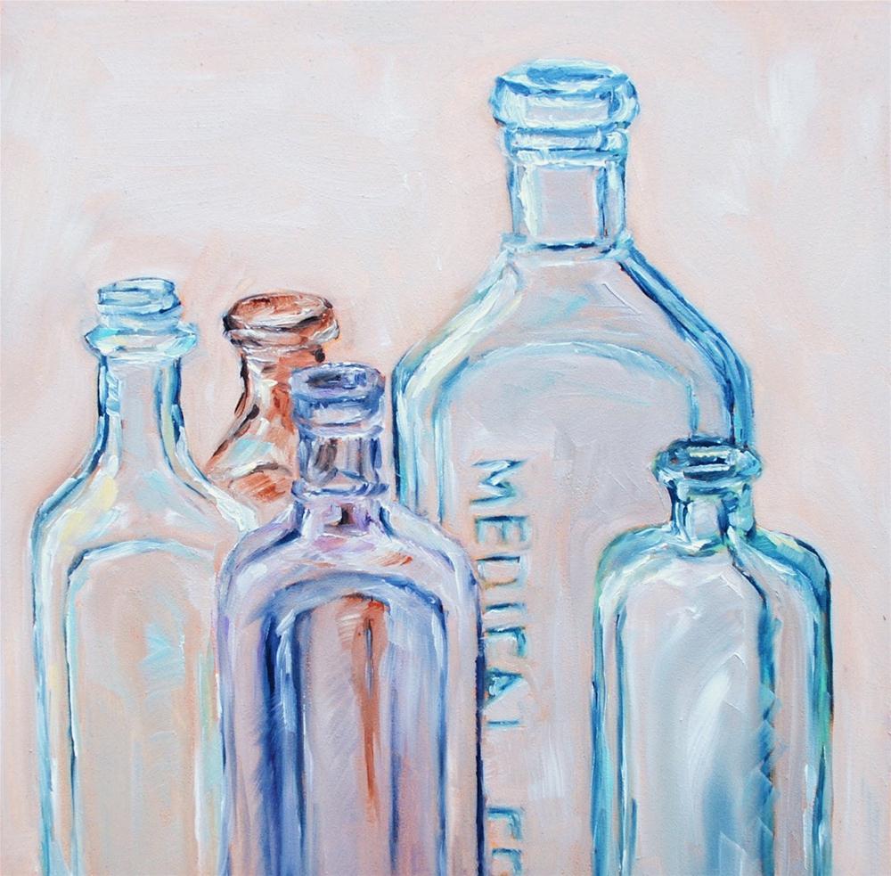 """""""Vintage Bottles 4"""" original fine art by Alison Kolkebeck"""