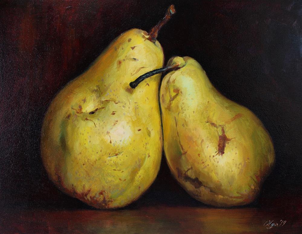 """Two pears"" original fine art by Olga Kripchenko"