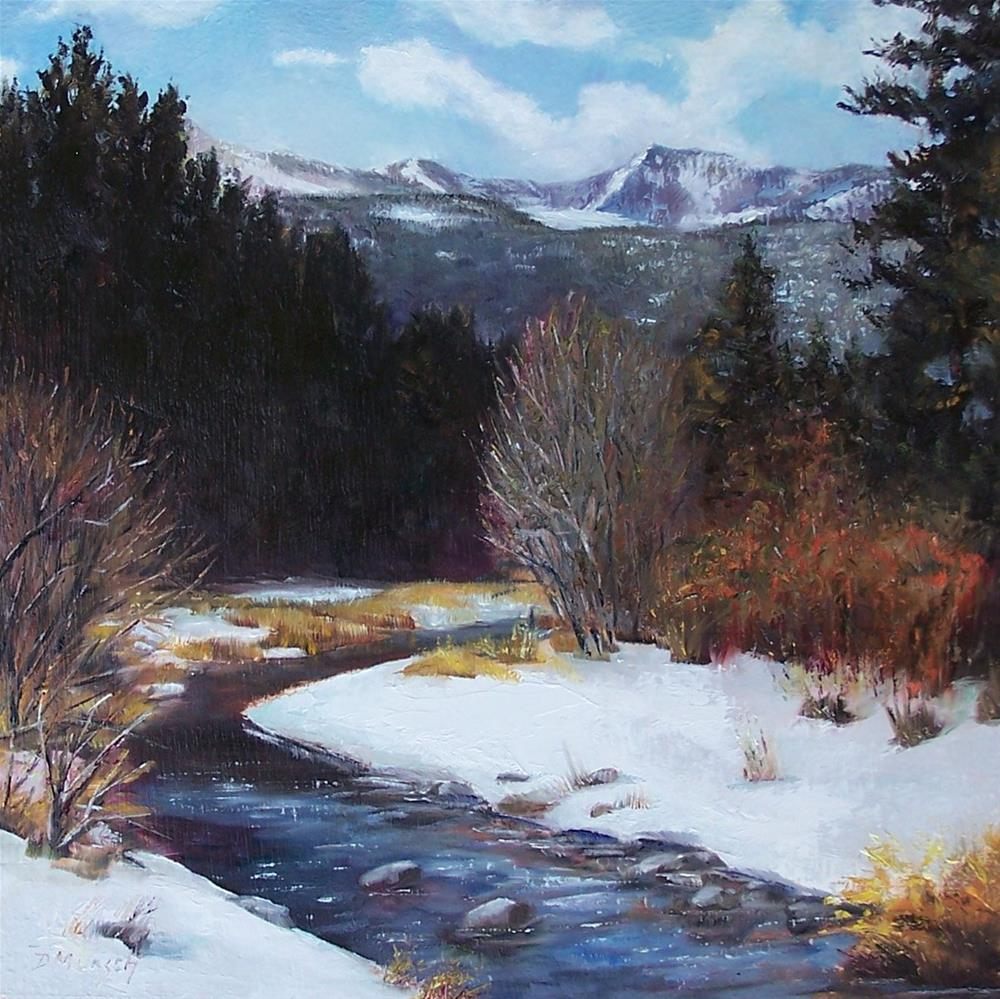 """""""Winter River Bend"""" original fine art by Donna Munsch"""