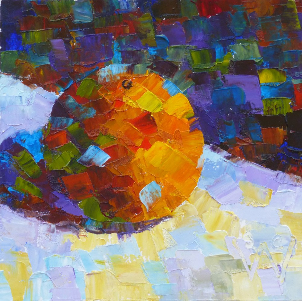 """Orange Mosaic #3"" original fine art by Susan Woodward"