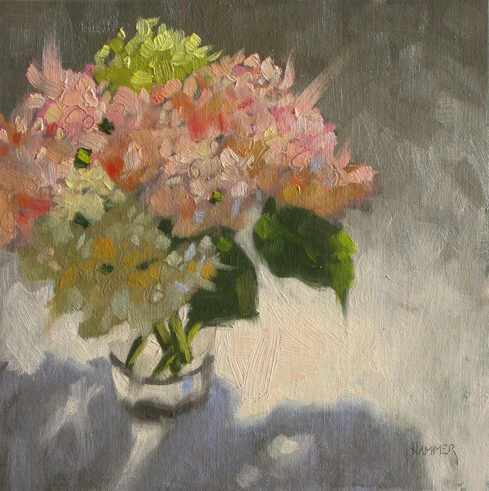 """Hydrangeas in pink & green 8x8  oil"" original fine art by Claudia Hammer"