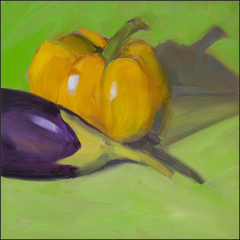 """Complementary Pair - Yellow Pepper and Mini-Eggplant"" original fine art by Johnna Schelling"