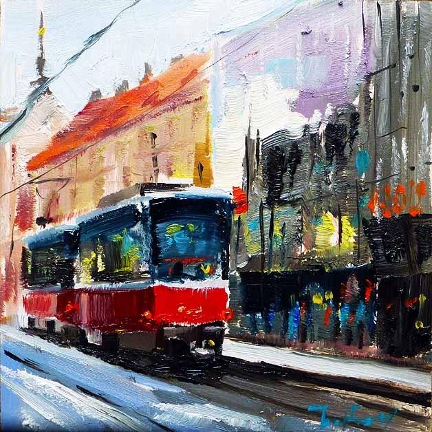 """""""Stadtbahn"""" original fine art by Jurij Frey"""