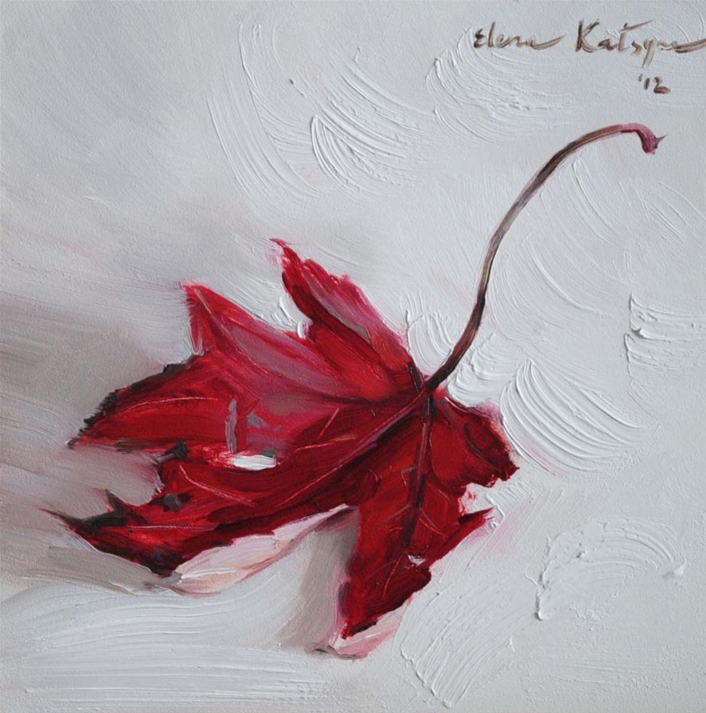 """Red Leaf"" original fine art by Elena Katsyura"
