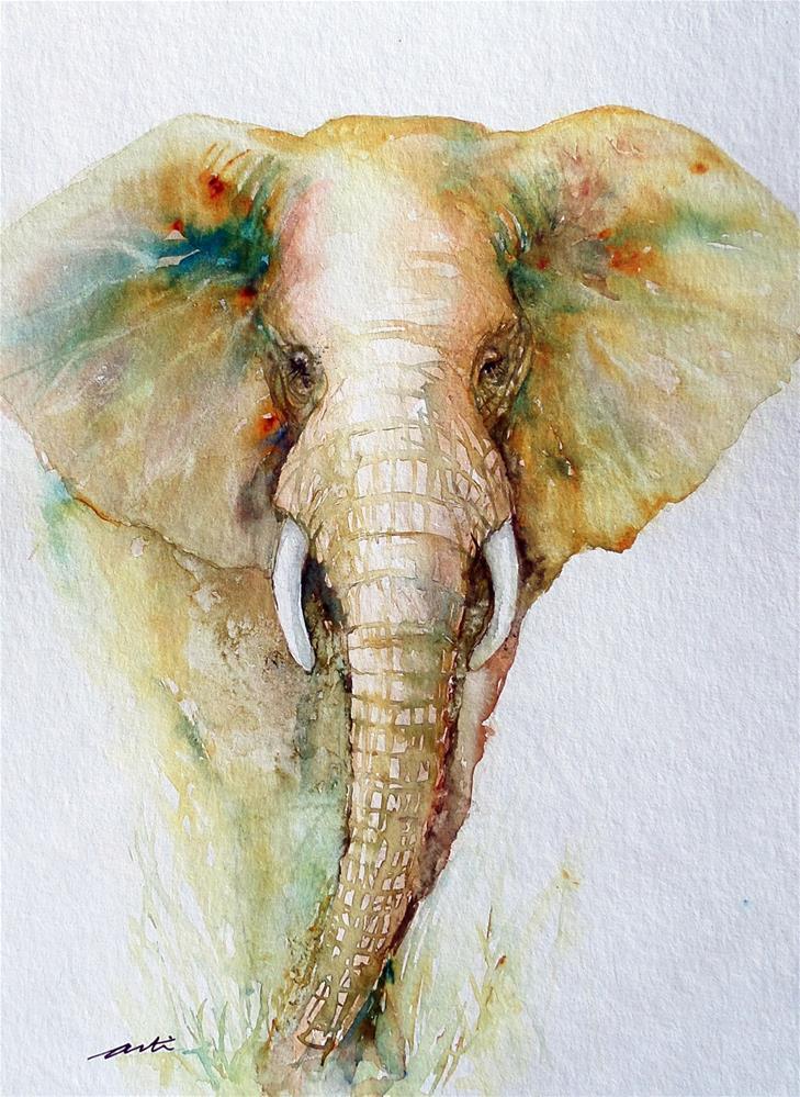 """""""Regal Gold Elephant"""" original fine art by Arti Chauhan"""