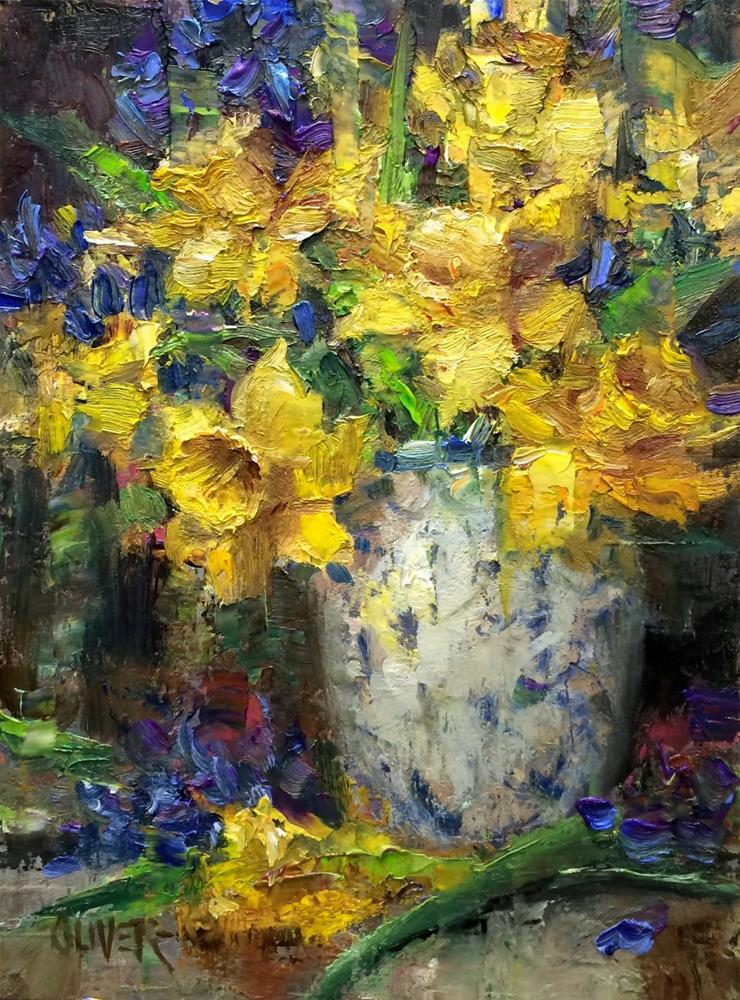 """""""Daffodils and Hyacinth  #3"""" original fine art by Julie Ford Oliver"""