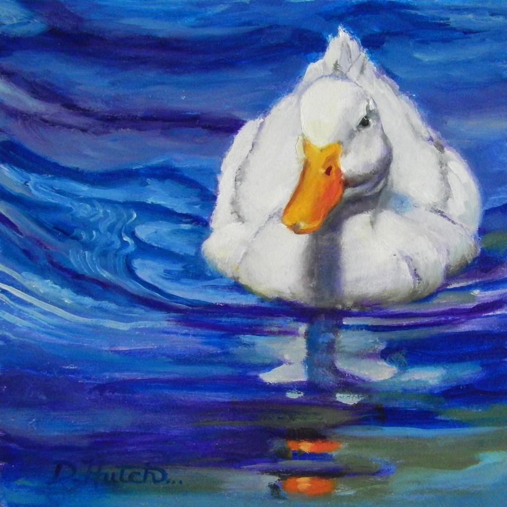 """""""White duck in blue water"""" original fine art by Diane Hutchinson"""
