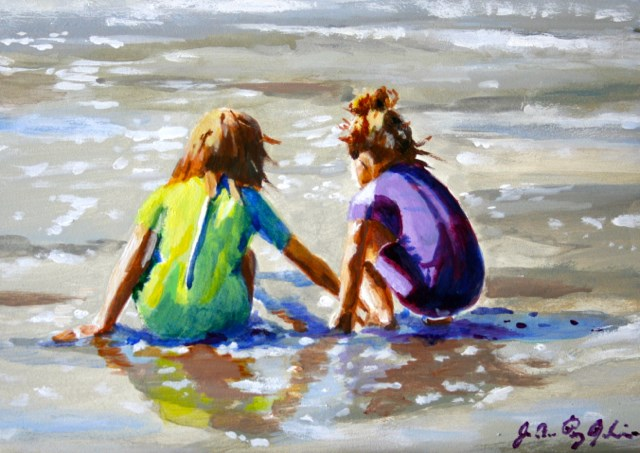 """Girl Talk"" original fine art by JoAnne Perez Robinson"