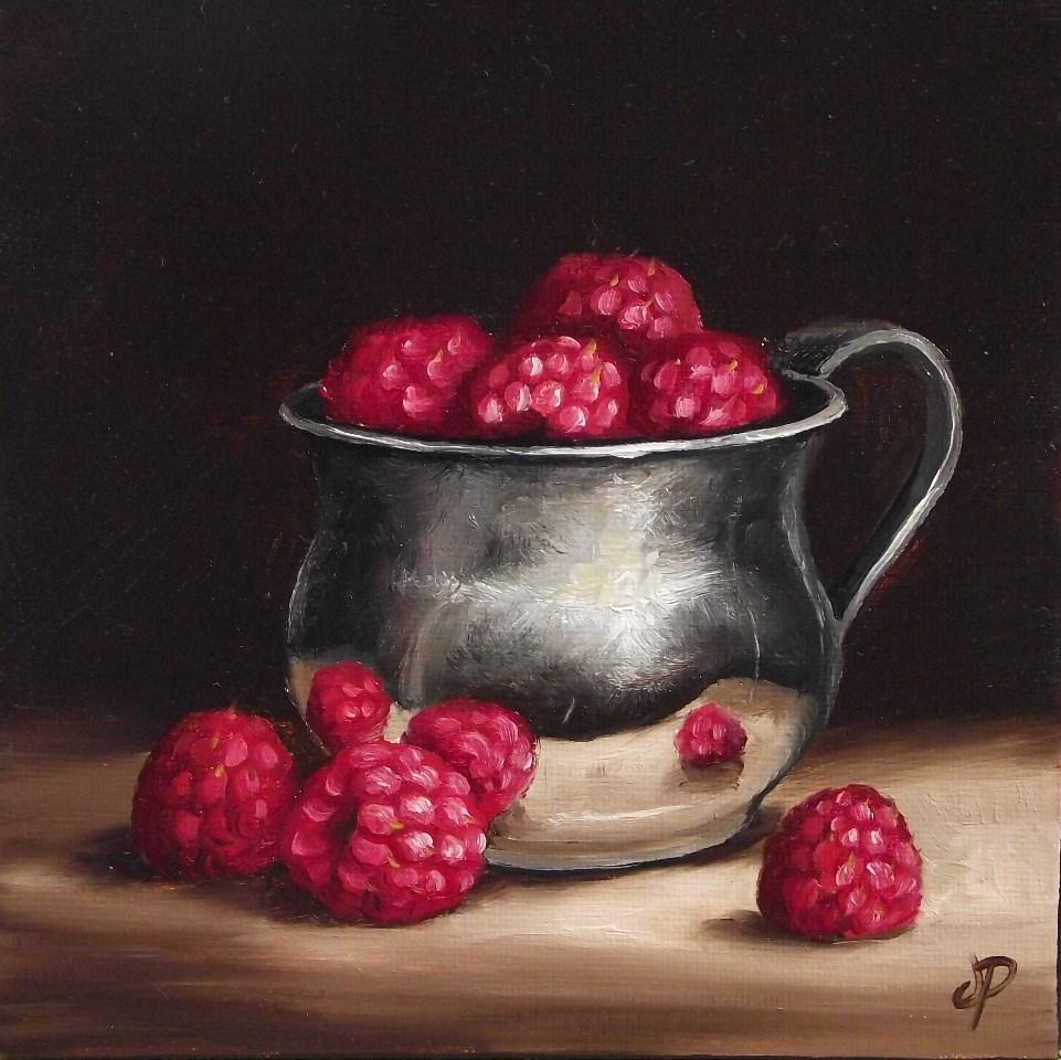 """Raspberry cup"" original fine art by Jane Palmer"