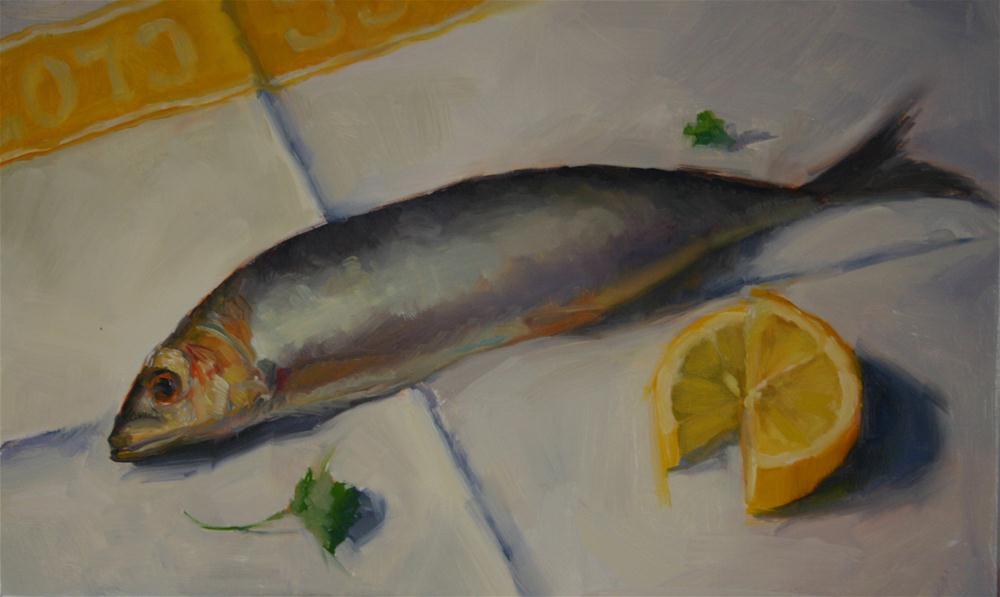 """""""Sardine Supper"""" original fine art by Liz Balkwill"""