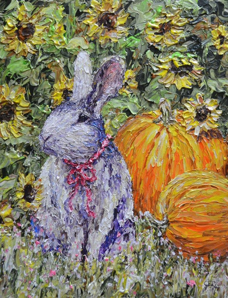 """Hiding Amongst The Sunflowers"" original fine art by Gloria Ester"