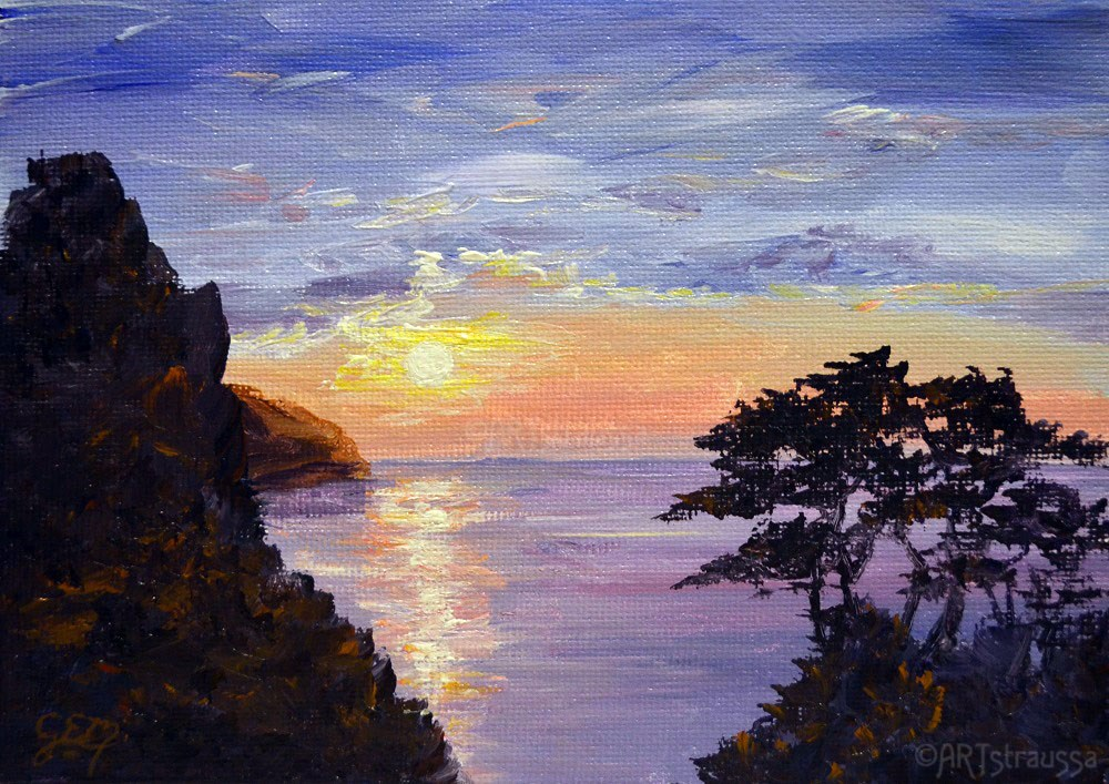 """SALE!!!Sunset Over Lynton"" original fine art by Gloria Ester"