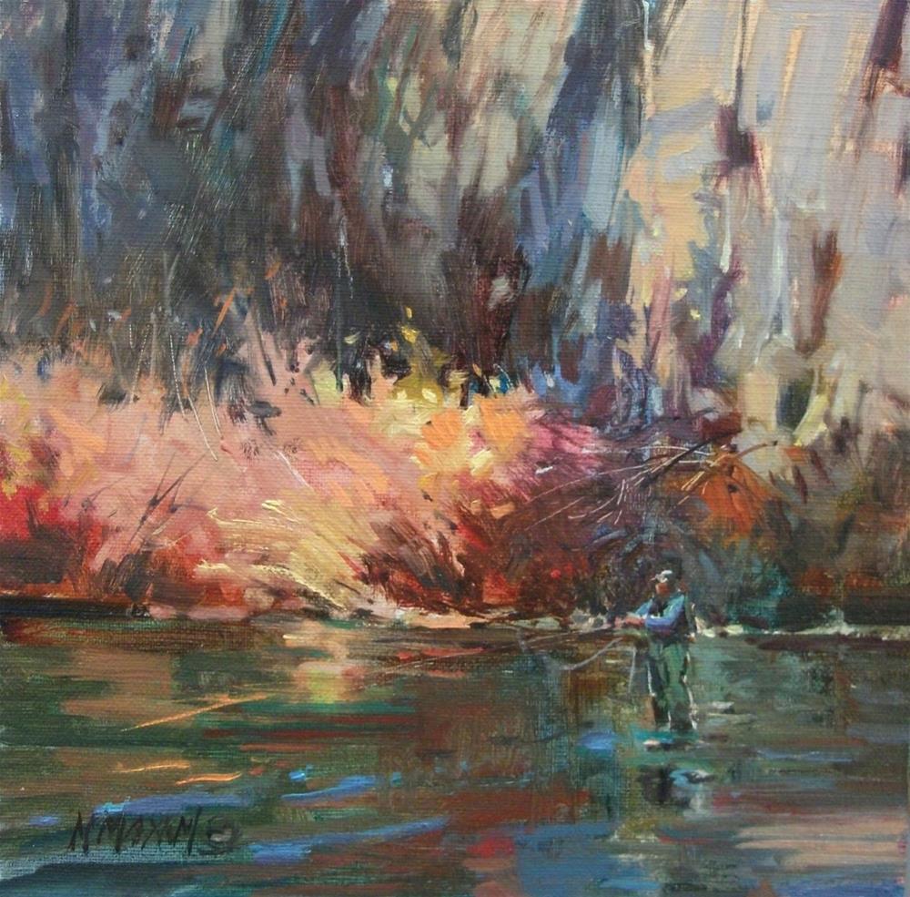 """Fishing In Shadows"" original fine art by Mary Maxam"