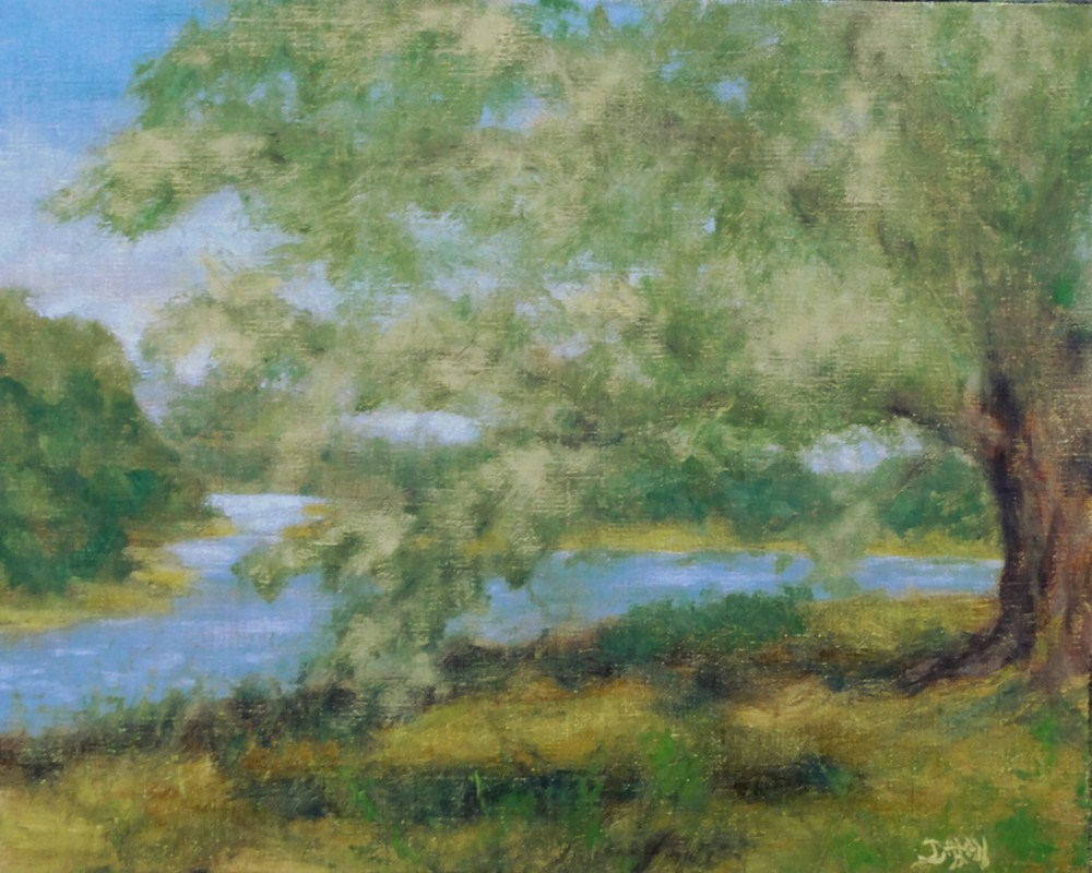 """Riverbank Oak"" original fine art by Dalan Wells"
