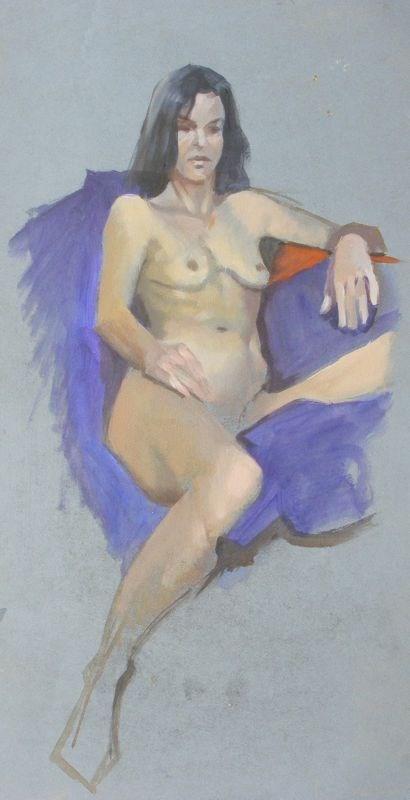 """seated nude"" original fine art by Peter Orrock"