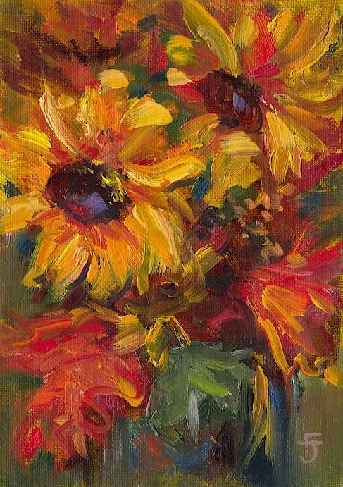 """More Sunflowers"" original fine art by Francine Dufour~Jones"