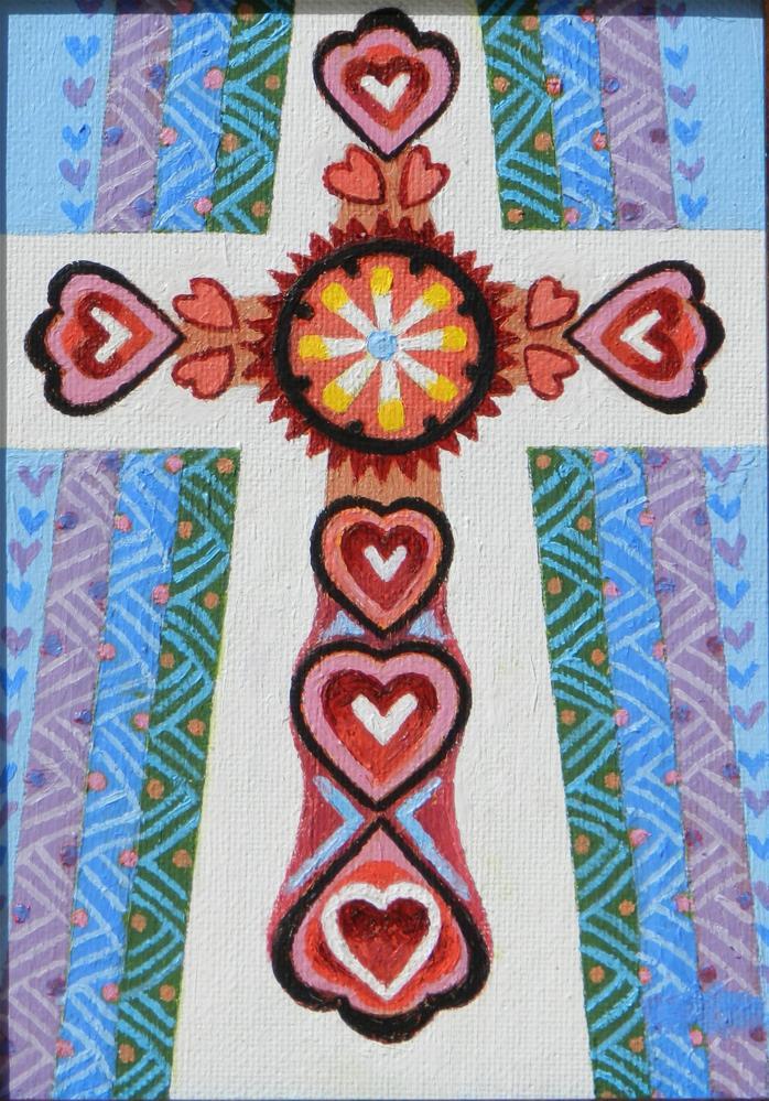 """Jeweled Cross 2"" original fine art by Velma Davies"