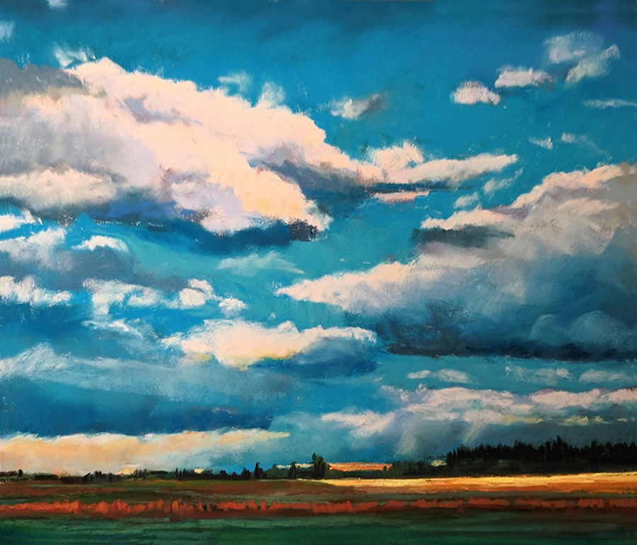 """Cloudy Landscape"" original fine art by Ria Hills"