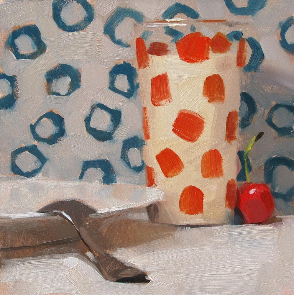 """Milk in Dots on Dots"" original fine art by Carol Marine"