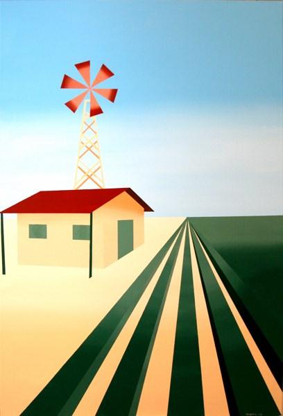 """Mark Webster Artist - Abstract Cubist Windmill Painting"" original fine art by Mark Webster"