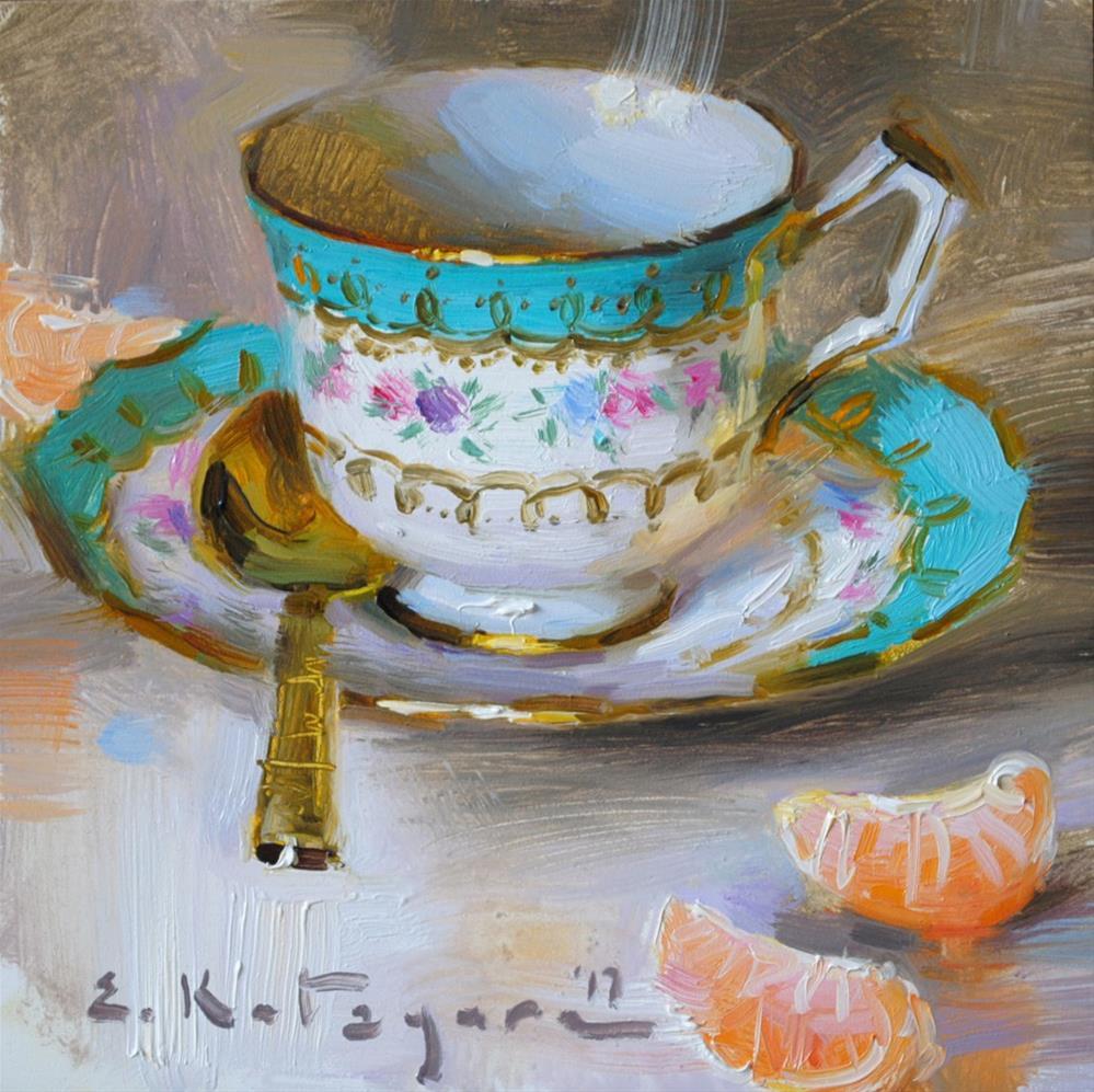 """Teacup and Citrus"" original fine art by Elena Katsyura"