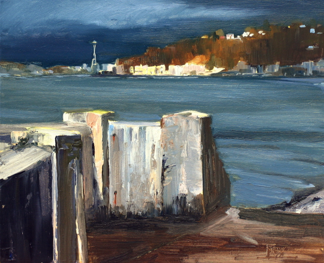 """""""Stormy Day on Alki  Seattle city scenes, cityscape oil painting."""" original fine art by Robin Weiss"""