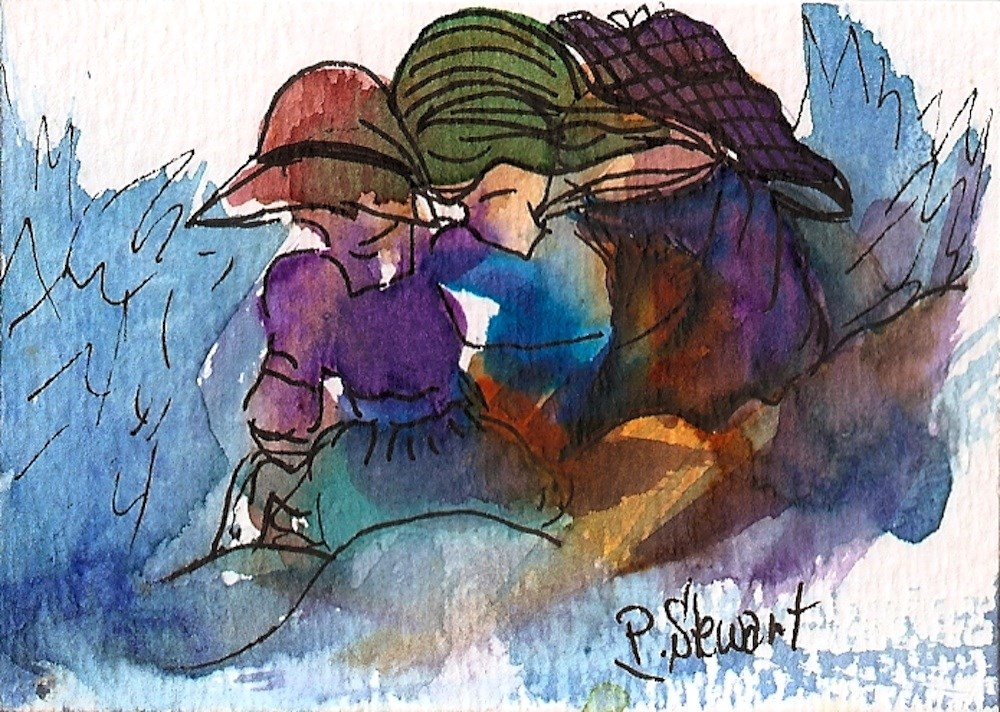 """ACEO A Cold Day at the Beach 3 Women huddled together, WC & Pen, OOAK"" original fine art by Penny Lee StewArt"