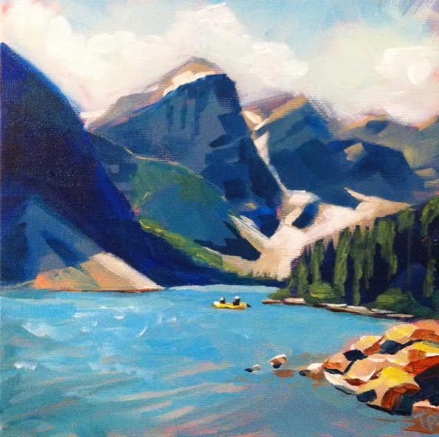 """""""Canoe Ride on Heaven's Lake"""" original fine art by Teddi Parker"""