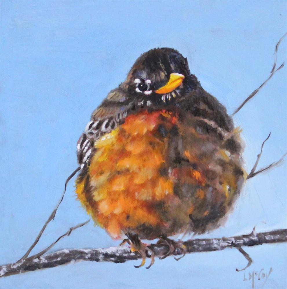 """""""Nippy Out Here! Robin Oil Painting"""" original fine art by Linda McCoy"""