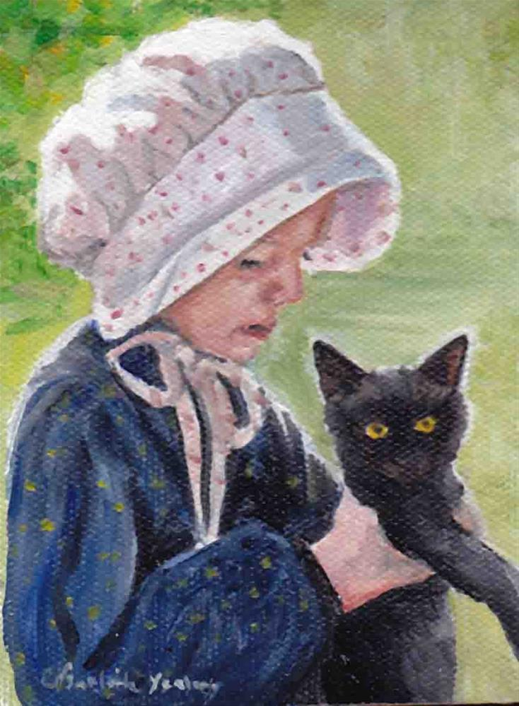 """""""Girl with cat"""" original fine art by Charlotte Yealey"""