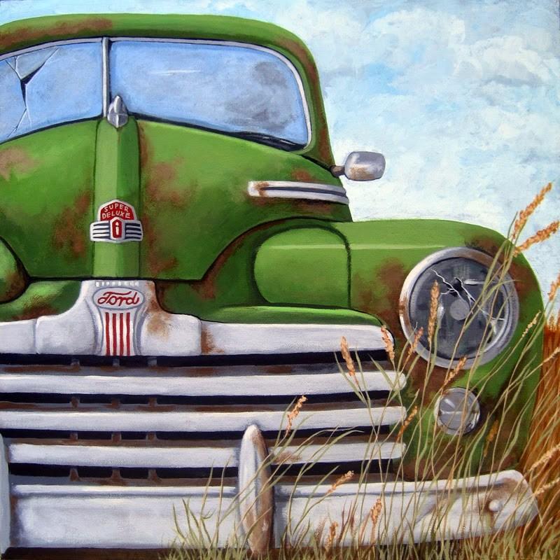 """Old & Rusty - vintage car scene."" original fine art by Linda Apple"