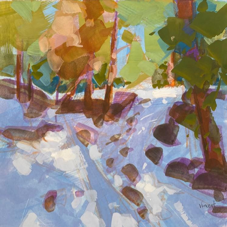 """Snow & Sun"" original fine art by Patti Vincent"