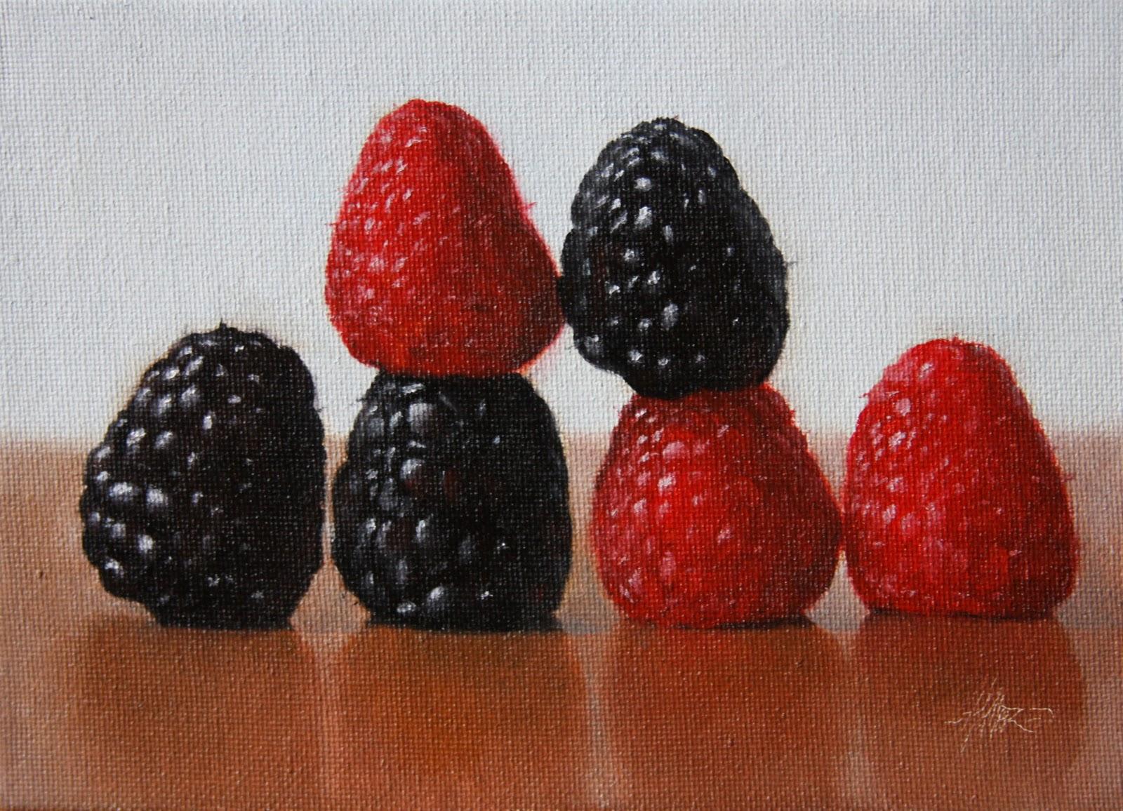 """""""Raspberries Aligned"""" original fine art by Jonathan Aller"""