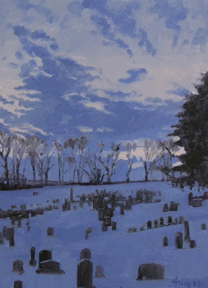 """Cemetery at Dusk"" original fine art by Ski Holm"