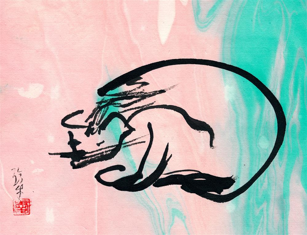 """El Gato"" original fine art by Janet Gunderson"