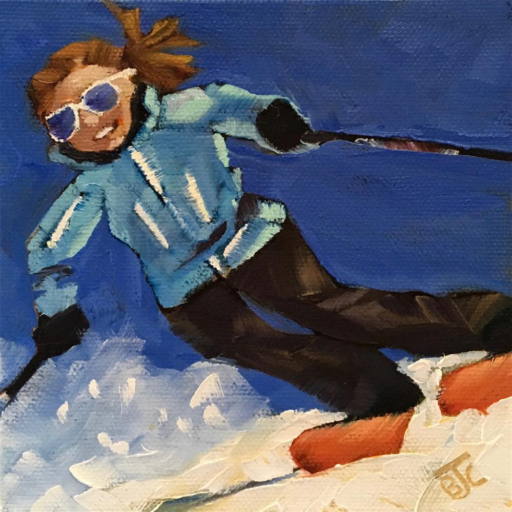 """Spring Skiing"" original fine art by Bobbie Cook"