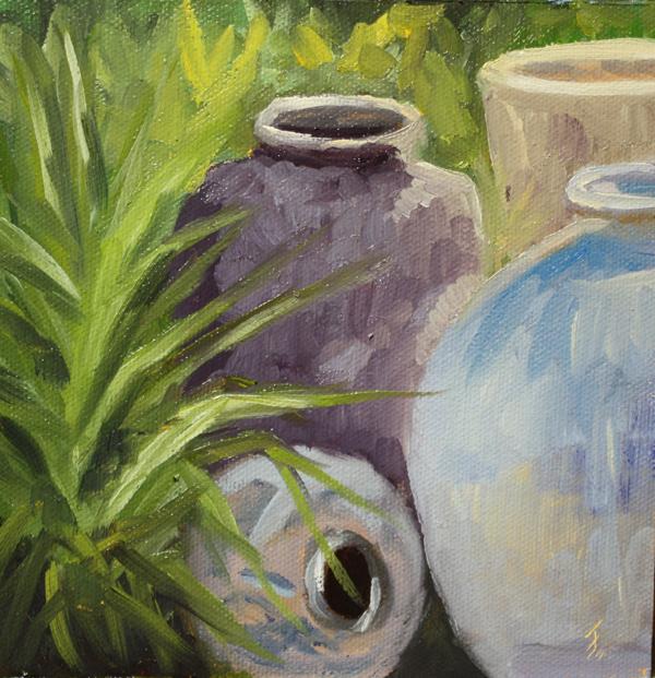 """""""Pots, Pots, Pots."""" original fine art by Jane Frederick"""