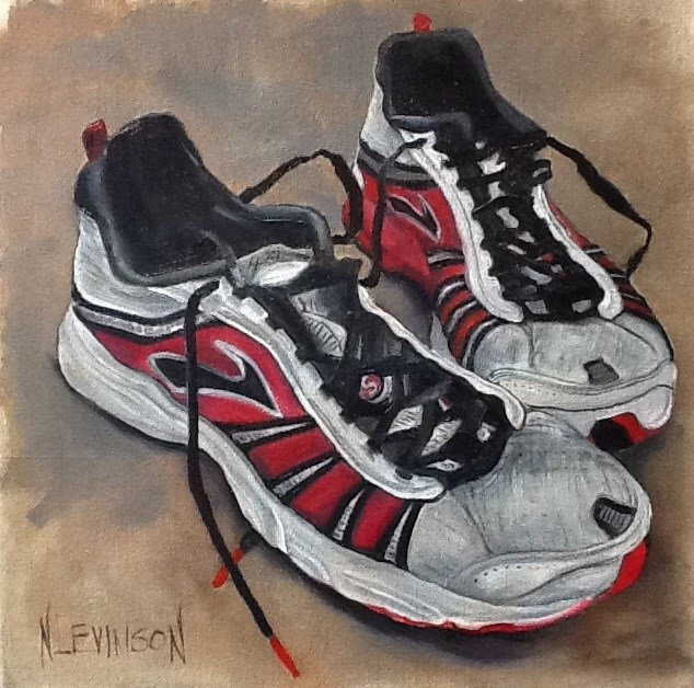 """She Ran With  These  12 12  oil"" original fine art by Nancy Levinson"