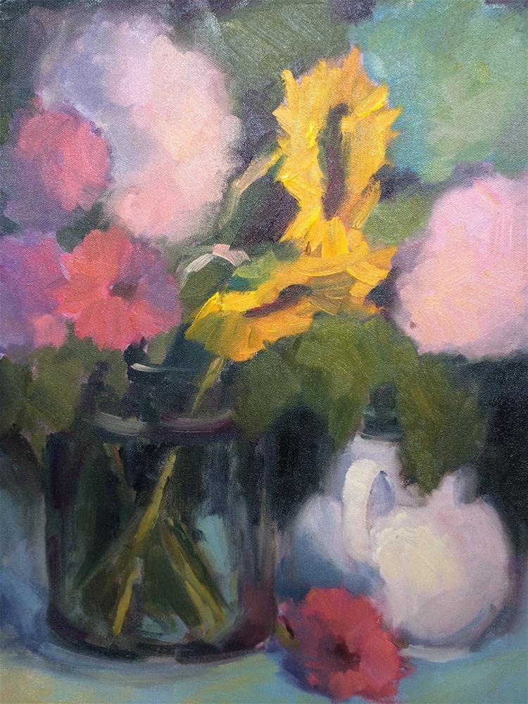 """Flowers and tea pot"" original fine art by Naomi Bautista"