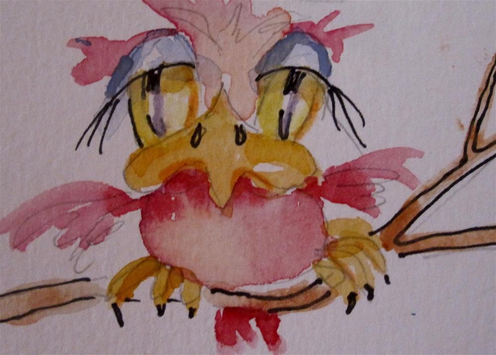 """Pink Sad Bird"" original fine art by Delilah Smith"