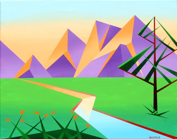 """""""Mark Adam Webster - Geometric Mountain River at Sunset with Flowers Acrylic Painting"""" original fine art by Mark Webster"""