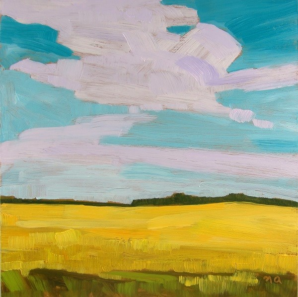 """Turquoise Sky Over Canola"" original fine art by Nicki Ault"