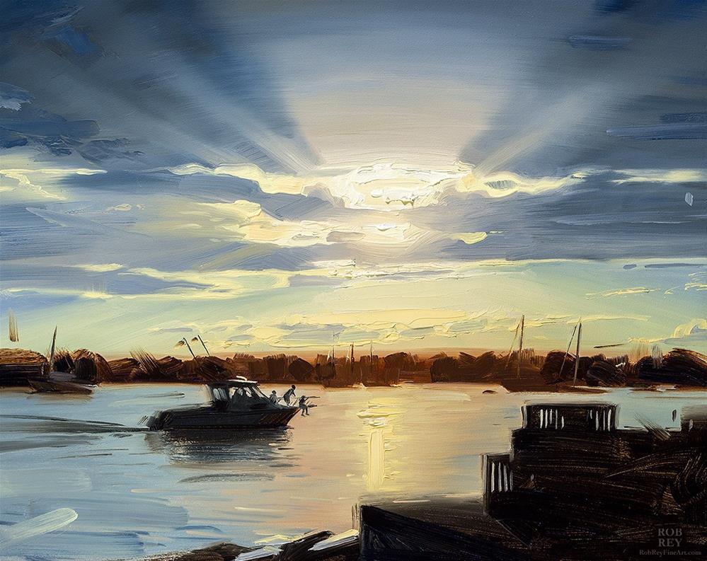 """Pulling into Harbor"" original fine art by Rob  Rey"