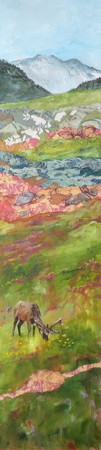 """HIGH MEADOW ELK ORIGINAL MIXED MEDIA LANDSCAPE WITH ELK © SAUNDRA LANE GALLOWAY"" original fine art by Saundra Lane Galloway"