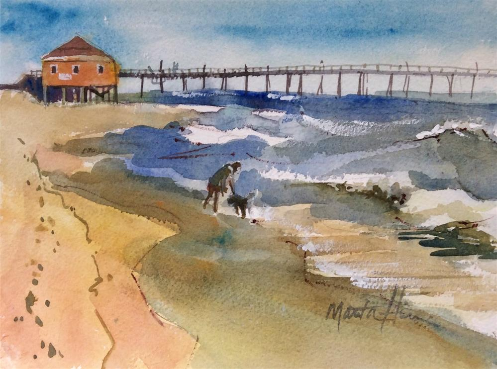 """Romping in the Surf (Rodanthe Pier)"" original fine art by Marita Hines"
