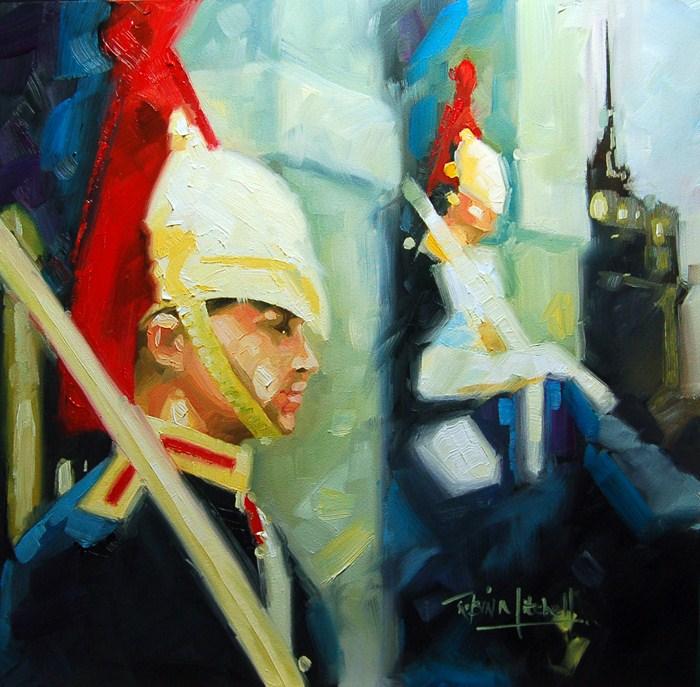 """No 494 The Queens Guards"" original fine art by Robin J Mitchell"