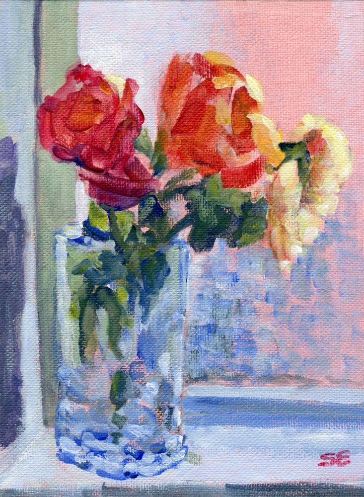 """Roses Against Translucent Window"" original fine art by Stanley Epperson"