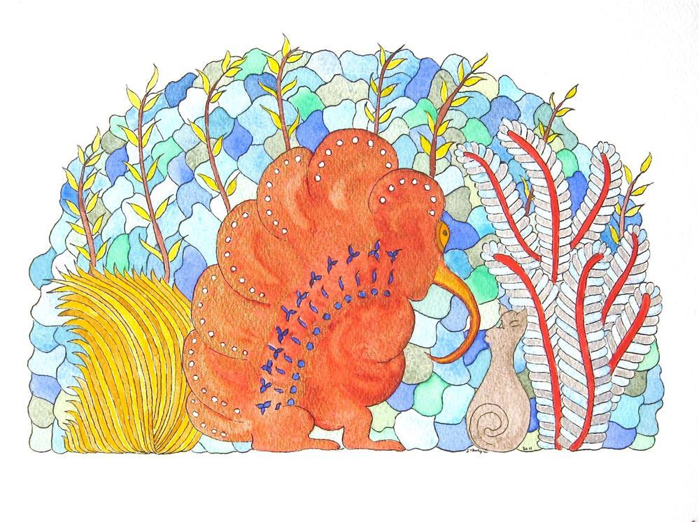 """""""A Sluggy in Scarlet"""" original fine art by Susan Medyn"""