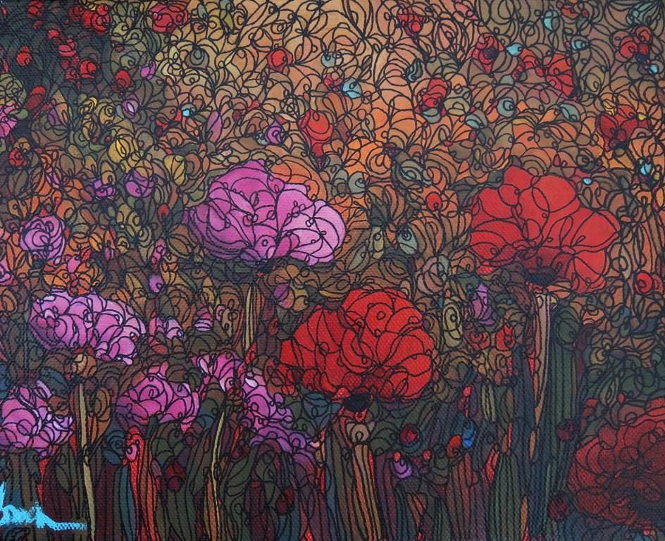 """""""148  POPPIES GALORE"""" original fine art by Dee Sanchez"""