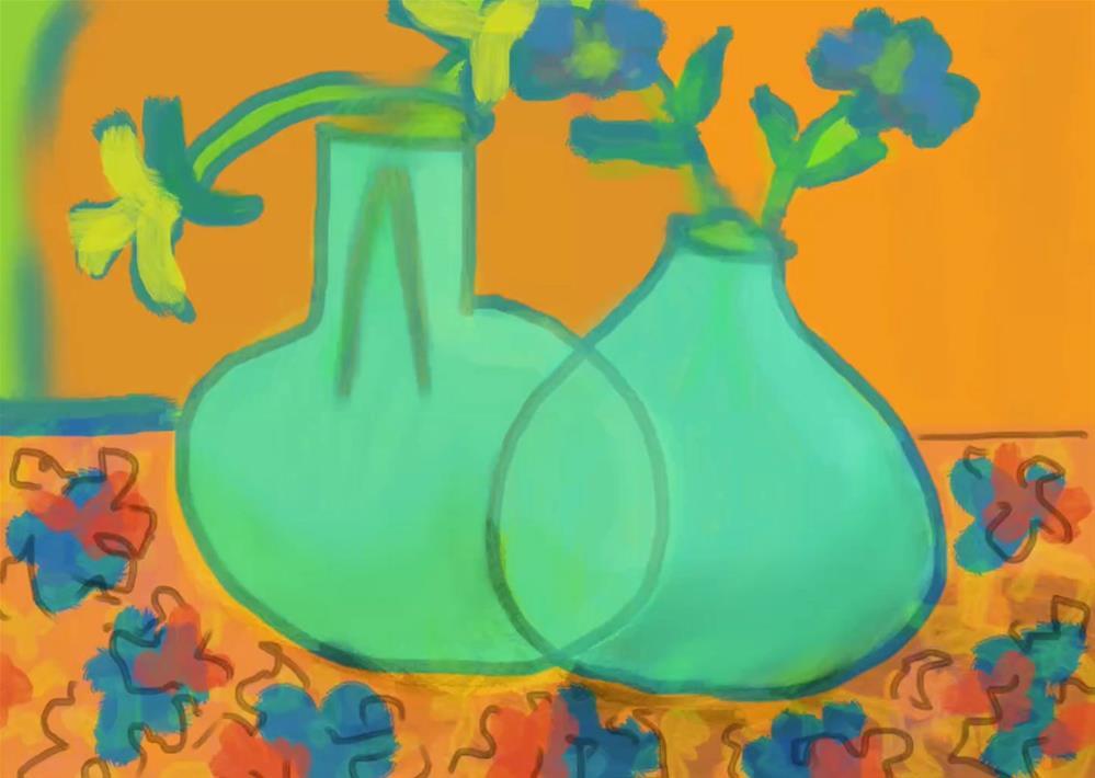 """Green Vases"" original fine art by Nancy Herman"